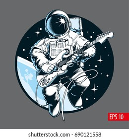 Astronaut playing electric guitar in space. Space tourist. Vector illustration.