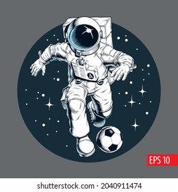 Astronaut playing football or soccer in outer space. Player dribbling a ball. Print, poster or banner. Comic style vector illustration.