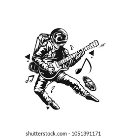 Astronaut Playing Guitar, Hand Drawn Sketch Vector illustration.