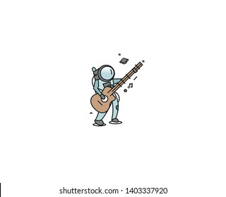 Astronaut in Playing Guitar, Hand Drawn Sketch Vector illustration.