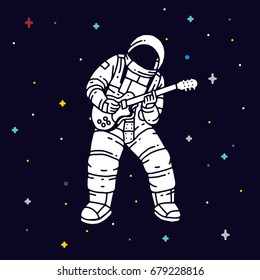 Astronaut playing guitar with space background. Vector illustration