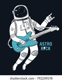 Astronaut playing guitar with space background. Vector illustration for t-shirt prints, posters and other uses.
