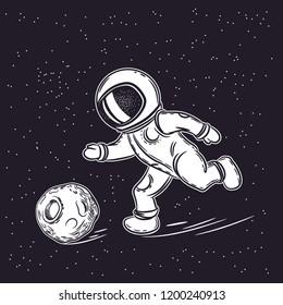 Astronaut plays football. Vector illustration on the theme of astronomy.