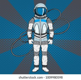 Astronaut in pop art style. Cosmonaut on blue background for your design.