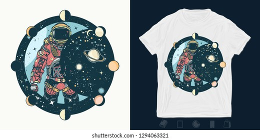 Astronaut. Print for t-shirts and another, trendy apparel design. Cosmonaut in universe, solar eclipse. Spaceman. Symbol of science, astronomy, education