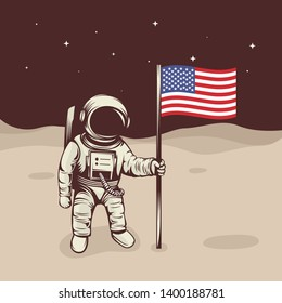 Astronaut raise the flag on the moon vector illustration