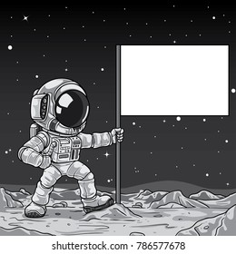 Astronaut raising flag on moon illustration
