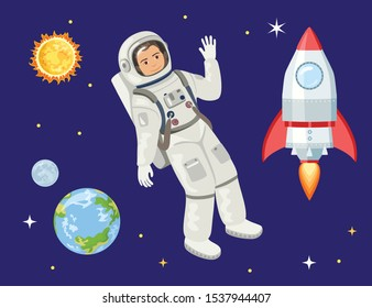 Astronaut and rocket in space isolated on a dark background. Vector illustration of cosmonaut, spaceship, planet Earth, moon, sun and stars in cartoon simple flat style.