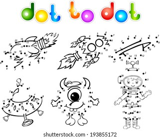 Astronaut, rockets, alien and planet. Dot to dot
