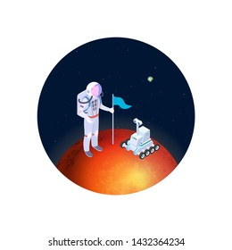 Astronaut and rover on mars vector illustration. Isometric astronaut in a spacesuit with a flag on red planet. Colonization of mars vector concept. Illustration of red planet and rover with astronaut