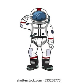 Astronaut salutes  isolated   on white background. Spacesuit color illustration. Spaceman equipment  vector illustration in sketch, doodle hand drawn style. Hand up  space pilot
