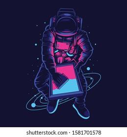 Astronaut screen printer illustration and tshirt design