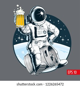 Astronaut sits on a beer keg and holds a beer mug. Vector illustration.