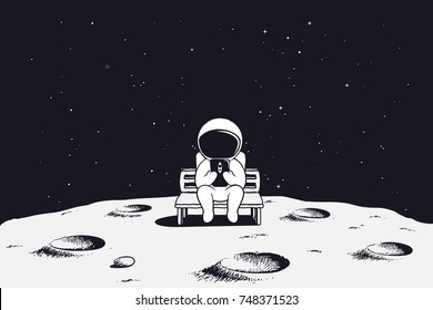 astronaut sits on the bench and see to mobile phone.Spaceman on Moon.Vector illustration