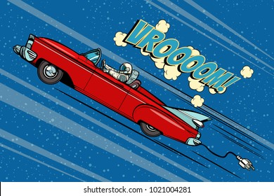 Astronaut sitting behind the wheel of a car. Pop art retro vector illustration comic cartoon hand drawn vector