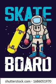 astronaut with skateboard stars graphic tee kids apparel