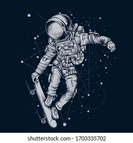 Astronaut Skateboarding in Space on black background