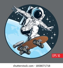 Astronaut skater rides on skateboard through the space. Comic style vector illustration.