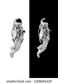 Astronaut sketch in illustrator vector art. Spaceman