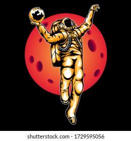 Astronaut Slamdunk Illustration perfect for tshirt design or clothing brand / apparel