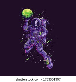 ASTRONAUT SLAMDUNK ILLUSTRATION  perfect for tshirt, apparel, atickers, cases, mugs, wall art, notebooks, pillows, to tes, pins, magnets, maks