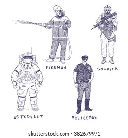 Astronaut, soldier, fireman and policeman hand drawn vector illustrations set isolated on white background