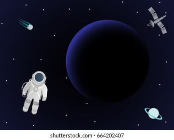 Astronaut in space against a background of a planet and a space station