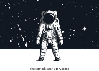 Astronaut with space background in black and white. Vector image