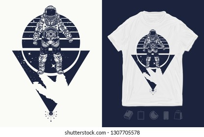 Astronaut in space. Cosmonaut in deep universe. Print for t-shirts and another, trendy apparel design. Spaceman art
