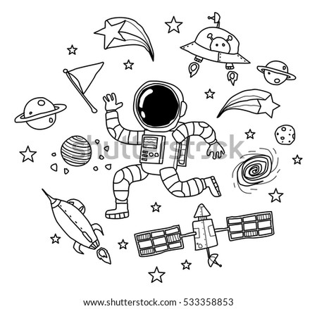 Astronaut Space Doodle Stock Vector Royalty Free 533358853