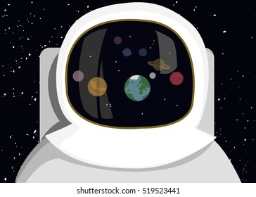 Astronaut in space exploration contemplating Earth's solar system and its planets