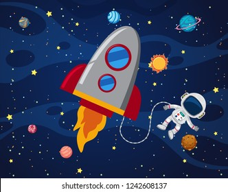 Astronaut in the space illustration
