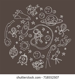 Astronaut in Space kids hand drawing set pattern background circle shape illustration isolated on brown color background