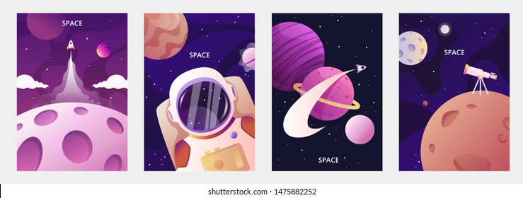 Astronaut in space. Planets of the solar system. Space travel and exploration. Set of cartoon vector templates for banners, cards, flyers, brochures.