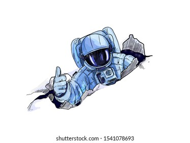 Astronaut in space suite punching through paper, isolated on white background. Hand drawn vector illustration.