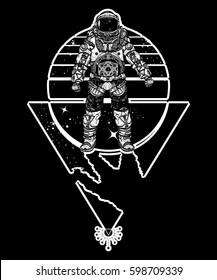 Astronaut in space, tattoo. Cosmonaut in deep space triangular style t-shirt design. Spacman art