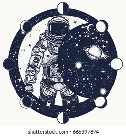 Astronaut in space tattoo. Cosmonaut in universe, solar eclipse t-shirt design. Symbol of science, astronomy, education