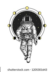 astronaut spaceman cards. Moon phases planets in solar system. astronomical galaxy space. cosmonaut explore adventure. engraved hand drawn in old sketch, vintage style for label or T-shirt.