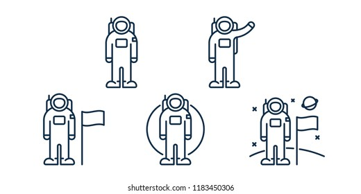 Astronaut Spaceman Cosmonaut Character Poses. Man on the Moon Concept. Space Travel. Minimal Flat Line Outline Stroke Icon.