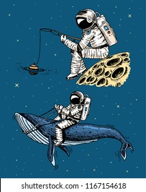 Astronaut spaceman with a fishing rod on the moon. astronomical galaxy space. Funny cosmonaut explore adventure. engraved hand drawn in old sketch. blue whale among the planets in solar system.