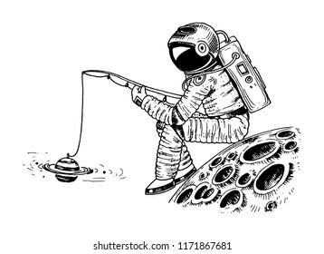 Astronaut spaceman with a fishing rod on the moon. astronomical galaxy space. Funny cosmonaut explore adventure. engraved hand drawn in old sketch.