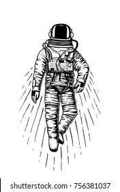 astronaut spaceman. planets in solar system. astronomical galaxy space. cosmonaut explore adventure. engraved hand drawn in old sketch, vintage style for label or T-shirt.