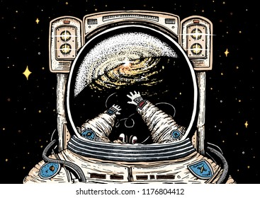 Astronaut spaceman soaring. astronomical galaxy space. Funny cosmonaut explore adventure and is reflected in the spacesuit. engraved hand drawn sketch. planets in solar system. background for website.