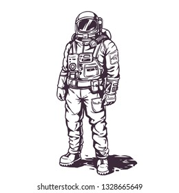 Astronaut spaceman in suit white background illustration