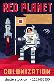 Astronaut in spacesuit with fluttering  flag on the surface of another's planet - retro poster template in a flat style. Grãnge worn texture on a separate layer and easily deactivated.