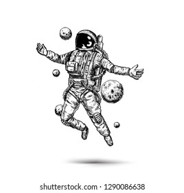 Astronaut in spacesuit, Hand Drawn Sketch Design illustration.