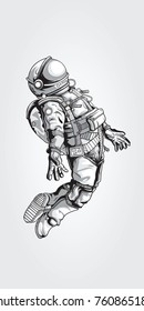 Astronaut in spacesuit on white back ground., VECTOR