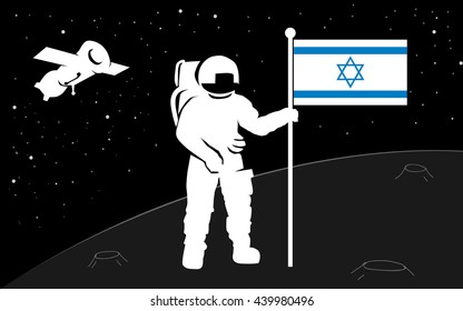 Astronaut in a spacesuit places a flag of their country on the planet's surface. A spaceship flying among the stars. Man in open space. Silhouette. Flag of Israel. Vector.