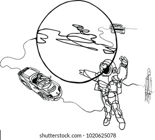 Astronaut in spacesuit, planet, spacecraft, car, cabriolet in space. Illustration inspire by recent space odyssey. Continuous line minimalist drawing