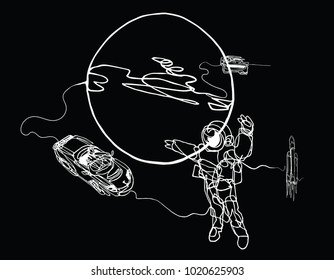 Astronaut in spacesuit, planet, spacecraft, car, cabriolet in space. Illustration inspire by recent space odyssey. Continuous line minimalist drawing on balck